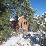 Ravenrock Rim Cabin in Snow (before deck)