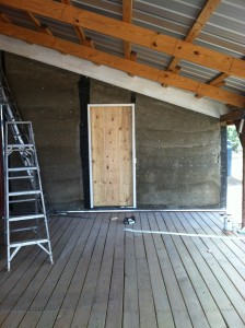 Papercrete walls done, ready for stucco